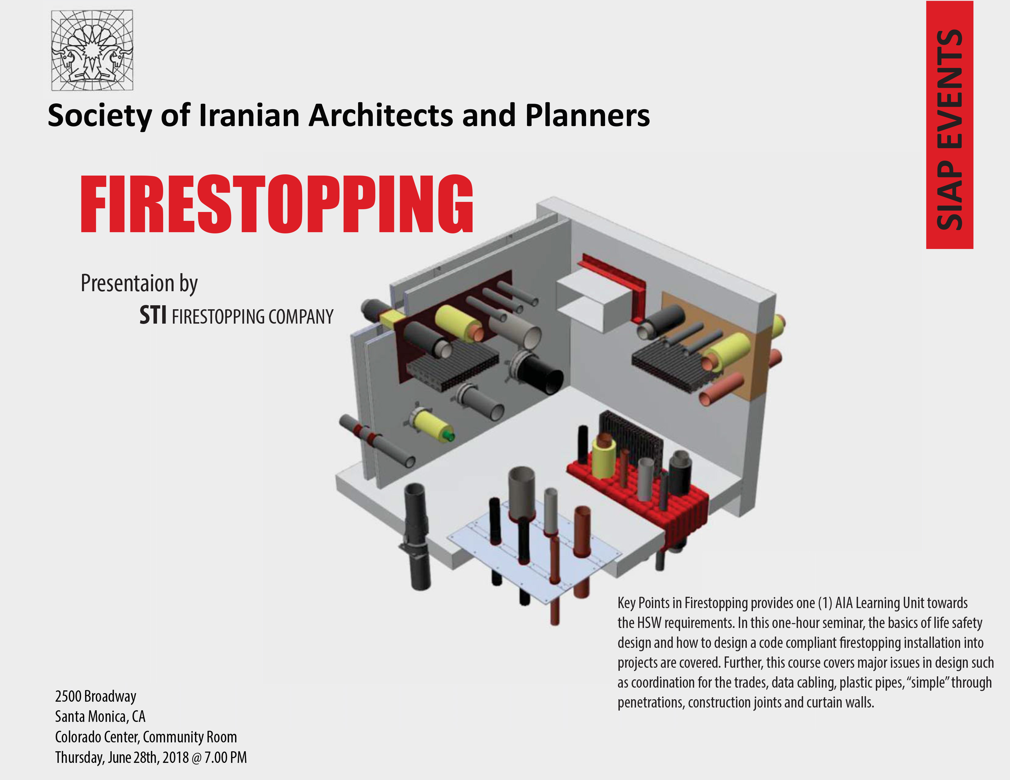 Home Society Of Iranian Architects Planners Siap Piping Layout Engineer Interview Engine Schematic Key Points In Firestopping Lecture By Keith Sanford Pe Cdt Ccpr